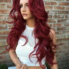 Wine Red Long Wavy Synthetic Wig Ombre Burgundy Synthetic Wigs Party Cosplay Wig
