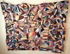 Antique Handmade Victorian Crazy Quilt Top Only 66x84 Restore Finish Cutter