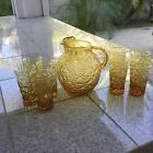 anchor hocking 3 qt pitcher  8 glasses 8 ozs amber color