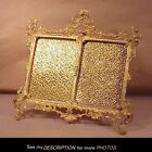 Antique Very Fancy Brass Double Picture Frame Floral Decoration