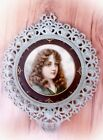 Antique Victorian FRAMED PRINT Girl Picture 11.25 Diameter AQUA Cast Metal As Is