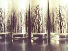 Mid Century Fall Leaves Black Forest Winter Trees Drinking Glasses gothic