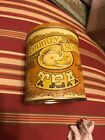 Country Style Tea Tin Cylinder Light Brown And Yellow