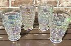 Vintage Federal Glass Yorktown Clear Iridescent Footed Tumbler Set of 4 EUC