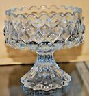 Small Vintage Crystal Glass Compote Preserve Candy Stand Diamond Pattern Candy