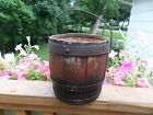ANTIQUE SMALL WOOD BARREL WITH BAIL HANDLE 7