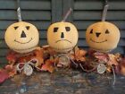Trio of Primitive Handmade Jack-O-Lanterns on Old Rusty Bed Springs - Halloween