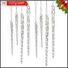 Clear Glass Icicle Christmas Tree Hanging Ornament Set 24 Pcs Xmas Decorations