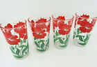 LOT OF 4 VINTAGE ANCHOR HOCKING RED FLOWER SWANKY SWIGS TUMBLERS GLASSES RETRO