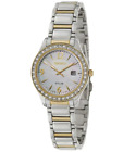 Seiko SUT126 Solar Two Tone Crystal Bezel Mother of Pearl Dial Women's Watch