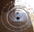 Two Tiered Clear Scalloped Edge Glass Snack Plate with Silver Toned Hook Handle