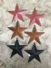 Set of 6) Assorted RUSTY/BURGUNDY/SATIN BLACK BARN STARS 5.5