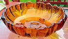 Vintage Colony Glass Three Footed Bowl Petals Amber Pattern 11