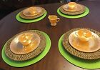 VINTAGE FIRE KING PEACH COLORED DINNERWARE 9 PIECES