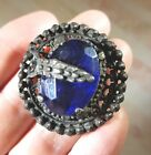 VINTAGE LRG GAY 90'S STYLE JEWEL BUTTON DARK LACY METAL W/ ROYAL BLUE SETTING