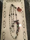 Betsey Johnson Necklase Lady Bug And Flower Accents, Black And White