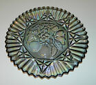 Federal Glass Pioneer Carnival Iridescent Smoke Cake / Chop Plate Round Platter
