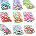 25pcs Colors Striped Paper Drinking Straws Rainbow Mixed For Party Decorations