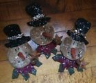 3 Grubby Grungy SNOWMAN Bowl Fillers OR Ornaments w/Rusty Bell Star  Wreath Tuck