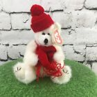 Ty Beanie Baby Peppermint Love Me True White Polar Bear Red Hat and Scarf Plush