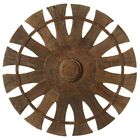 22''D Hand Carved Vintage Wood  Charkha Wall Sculpture Round Plaque Decor