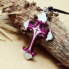 Fashion Personality Stainless Steel Purple Cross pendants necklacee DZ96