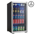 Danby Beverage Center Soda Beer Bar Mini Fridge Cooler, Stainless Steel (2 Pack)