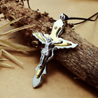 Fashion Stainless Steel Silver 3 layer Jesus cross pendants necklacee DZ105