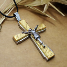 Fashion Personality Stainless Steel 3 layer cross Jesus pendants necklacee DZ100