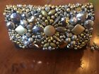 Mary Frances Gold & Silver Beaded Black Leather Clutch Pursr