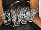 Set of 8 Mid Century Modern Clear Drinking Glass With Metal Caddy-white Etched