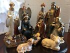 KIRKLANDS Nativity Set + Wood Base Glazed Ceramic 11 Piece Woodland Collection