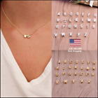 New Charm Gold Silver Heart Letter Initial A Z Alphabet Pendant Chain Necklace