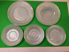 Federal Glass Moonglow Iridescent Diamond Point, 2 Salad Plates, 3 Saucers