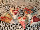Set of 5 Valentine handmade heart ornaments bowl fillers Vintage Look Home Decor