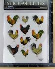 STICKABILITIES ROOSTERS Paper Studio 2 Sticker Strips CLEAR BACK NEW