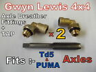 2 Land Rover Defender Td5 PUMA axle Breather Fittings and M 12 Tap wading kit