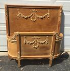 Antique Twin Bed / French Bed Frame Barbola Roses Curved Headboard Footboard