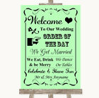 Wedding Sign Poster Print Green Welcome Order Of The Day