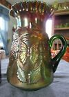 RARE FENTON GREEN CARNIVAL GLASS BUTTERFLY AND FERN WATER PITCHER