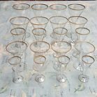 20 Glasses Mid Century Gold Rimmed Iced Tea, Wine, Martini, Cordial, Bar Ware
