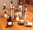 Modern Faceless wood Carved Nativity Set In White And Brown
