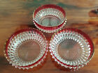 Indiana Glass Salad Bowls Set of 3 Ruby Flash Diamond Point  5