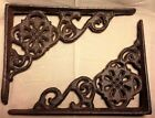 SET OF 2 VICTORIAN FLORAL SHELF BRACKET/BRACE, Antique Brown patina cast iron