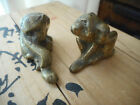 XMAS GIFT IDEA - Two Antique/Vintage Brass Monkeys - made in Hong Kong
