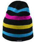 Cuglog Monte Fitz Roy Striped Beanie Knit Hat  Teal Pink Yellow Black