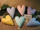 6 Country Valentine fabric Conversation hearts Ornaments Bowl fillers Home Decor