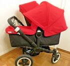 BUGABOO DONKEY DUO 2 SUN HOOD CANOPY RED (EXTENDABLE) & 1 APRON GREAT CONDITION