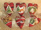 6 Country fabric Red Truck - Fox - Cabin - heart  ornaments Christmas Home Decor