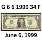 FANCY $1 Bill BIRTHDAY 6-6-1999 Note Serial Number G66199934F Andre Agassi, Graf